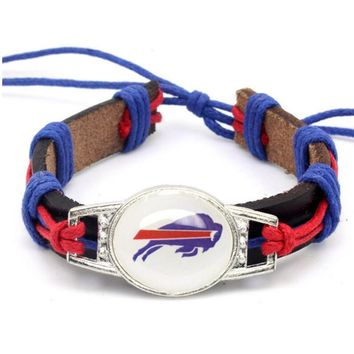Hot Selling Buffalo Bills Football Team Leather Bracelet Adjustable Leather Cuff Bracelet For Men and Women Fans 10PCS