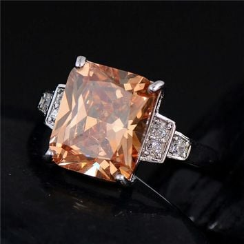 Emerald Cut Yellow CZ Dinner Ring
