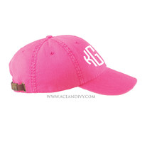 Monogrammed Baseball Hat - Hot Pink