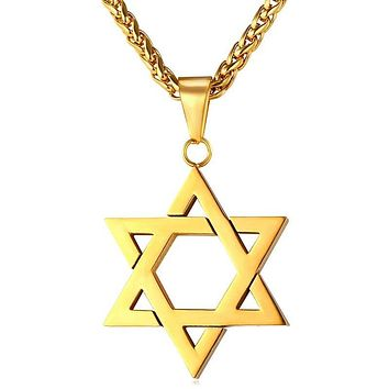 Star of David Pendant Necklace with Chain