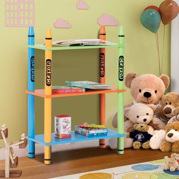 Giantex 3 Tiers Kids Bookshelf Crayon Themed