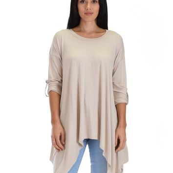 SL4365 Stone Long Sleeve Top With Roll-Up Sleeves And Handkerchief Hem