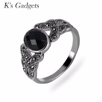 K's Gadgets Vintage Black Rings Jewelry Onyx Stone Finger Ring Fashion Channel Jewelry Black Onyx Rings Women Natural Stone Ring