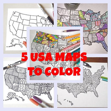 5 united states maps america kids adult coloring etsy sales book download travel map art  home decor printable print digital lasoffittadiste