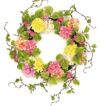"""22"""" Decorative Pink and Yellow Mum and Wild Blossom Artificial Floral Wreath - Unlit"""