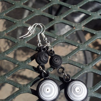 Eco-Friendly Paper Quilled Earrings Dangle Swirls - Black, Gray, and White - quilling jewelry, paper earrings, quilling earrings, handmade