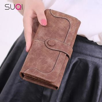 SUQI Retro Matte Color Women Wallet Purse Female Pouch Portefeuille Wallet For Women Purse Ladies Girl Passport Cover Pouch