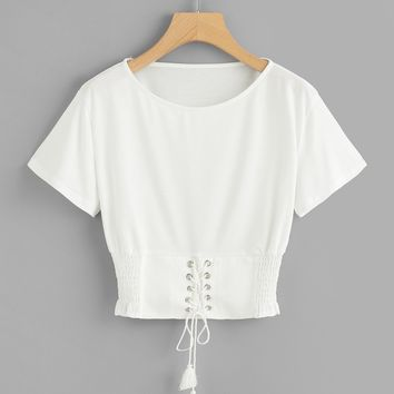 Corset Lace Up Detail T-shirt