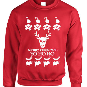 Adult Crewneck Yo Ho Ho Cool Ugly Christmas Sweater Holiday Gift