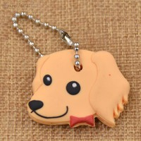Cute Beige Dog Soft Rubber Key Cap/Cover Keychain
