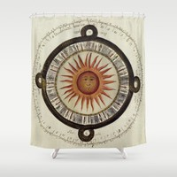 Ancient Aztec Sun Calendar Shower Curtain by YourSparklingShop