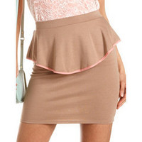 Contrast Piped Peplum Skirt: Charlotte Russe