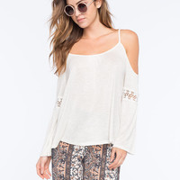 Full Tilt Crochet Inset Womens Cold Shoulder Top Cream  In Sizes