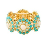 Faceted Stone Medallion Stretch Bracelet by Charlotte Russe - Mint