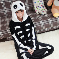 Fashion Women Pajamas Skull Skeleton Anime Adult Onesuits Pyjamas Womens Onsies Clothing Winter Pijamas