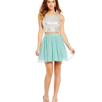 Jodi Kristopher Sequin Bodice Mesh Two-Piece Dress | Dillards