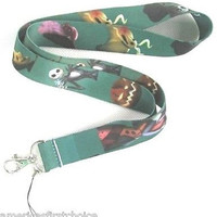 Disney Nightmare before Christmas Green Lanyard/Landyard ID Holder Keychain-New!