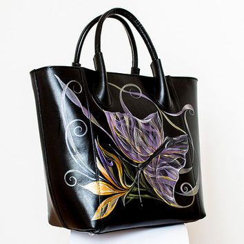 Original Art Hand Painted Butterfly Flowers by Xtresses Studio Artist Luxury One of a Kind Boutique Italian Genuine Leather Large Handbag