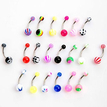 20pcs Colorful Stainless Steel Ball Barbell Curved Navel Belly Button Rings Bars Piercing H8822 Cosmetic (Color: Multicolor) = 5987563777