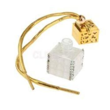 Gold Cube Glass Bottle Pendant Necklace filled with Pheromones