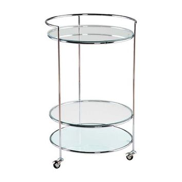 Eurostyle Roberta Round Glass Top Side Table w/ Chrome Frame & Casters
