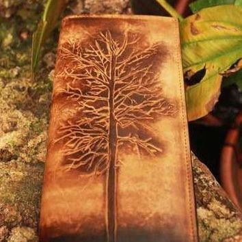 Handcraft vintage distress eagle feather leather hand dyed long wallet for men