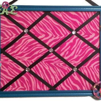 Memo Bulletin framed organizer child tween playroom bedroom game decor save 30% turquoise pink zebra peace symbol black ribbon rhinestone