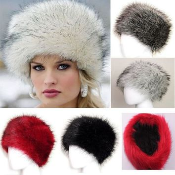 New Winter Warm Women's Faux Fox Fur Hat Russian Style Winter Cap Fashion