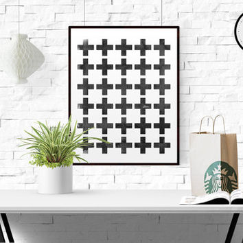 Office decor Minimalist art print Watercolor Cross art print Swiss cross print Scandinavian art Geometric print WATERCOLOR PRINTABLE ART