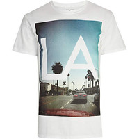 White LA print t-shirt - t-shirts / tanks - sale - men