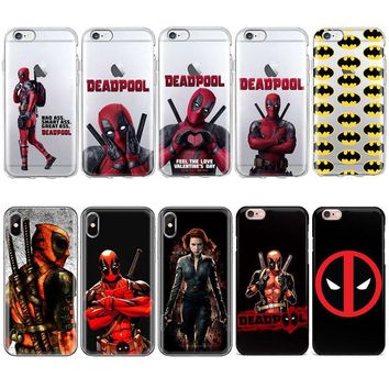 Deadpool Dead pool Taco Marvel Anime Black Widow Batman  logo Phone Case For iPhone 7 6 6S 8 Plus 5s SE 4S TPU Silicone Cover For iphone X Case AT_70_6
