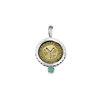 December NYC Authentic Subway Token Turquoise Sterling Silver Charm Necklace