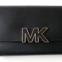 NWT MICHAEL KORS Womens Florence Large Billfold Wallet Clutch Black Leather NEW