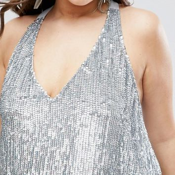 ASOS CURVE Sequin Plunge Halter Top at asos.com