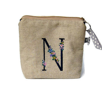 Wristlet purse, bridesmaid's wedding purse, make up bag, iPhone pouch, prom clutch bag, initial embroidery, dark blue cotton and beige linen