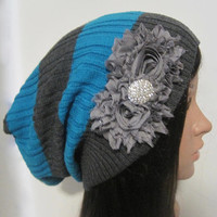 Gray and Blue Striped Recycled Sweater Slouch Beanie With Gray Chiffon Flowers and Rhinestone Accent Winter Hats Sweater Hats Accessories