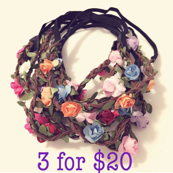 SALE - ANY 3 Mini Flower Headbands, Flower Crowns, Coachella, Weddings, Birthdays