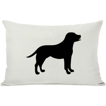 """Lab Silhouette"" Indoor Throw Pillow by OneBellaCasa, Black, 14""x20"""