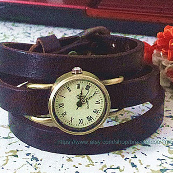 Men Watch.Chocolate Leather Bracelet  Wrap Watch, Handmade Women's Watch, Everyday Bracelet  YB023