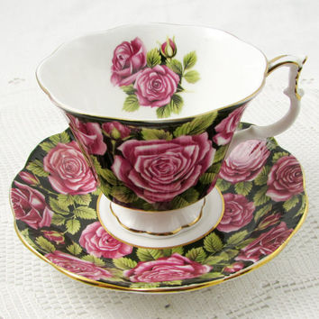 Royal Albert Black Tea Cup and Saucer with Pink Roses, June Pattern, Vintage Bone China