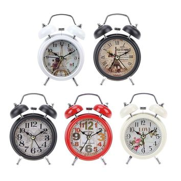 White Black Household Retro Alarm Clock Round Number Double Bell Desk Table Digital Clock Home Decor