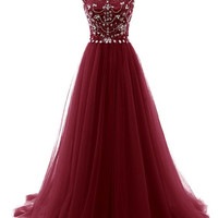 Beaded Floor Length Prom Dress With Capsleeves I184