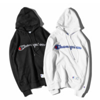 Hot Champion Embroidery Loose Pullover Hoodies Sweater In Black & White