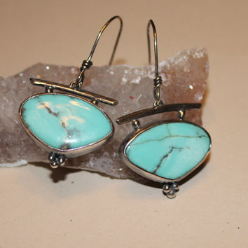 Natural turquoise earrings - boho turquoise earrings - southwestern jewelry - blue turquoise earrings - Arizona turquoise earrings