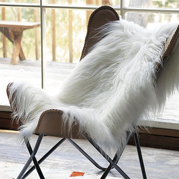 100%  Natural Icelandic sheepskin rug genuine real white-ivory XXL