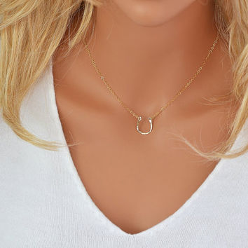 Gold Horseshoe Necklace, Dainty Gold or Silver Necklace, Layering Necklace Rose Gold, Delicate Gold Necklace, 14k Gold Fill