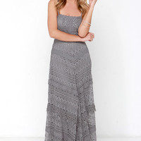 Beneath the Garden Arbor Grey Lace Maxi Dress