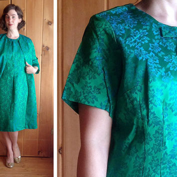 Vintage dress | Green satin brocade 1960s wiggle dress with matching duster coat