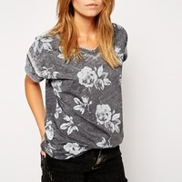 ASOS T-Shirt with Floral Burn Out