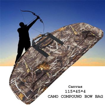 High Quality 115*45*4cm Canvas Camo Camouflage Compound Bow Bag Archery Arrow Carry Bag Case Outdoor Hunting Holder Pouches